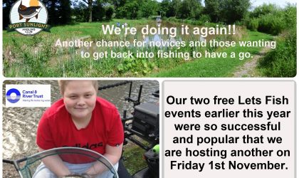 Port Sunlight Angling Club are to host another Free Let's Fish Event in conjunction with the Canal & River Trust at our Idyllic Fireman's Pool, Hooton Road On Friday 1st November from 10am